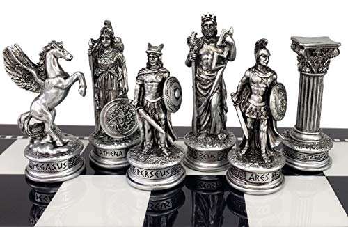Greek Mythology Olympus Gods Zeus vs Poseidon Set of Chess Men Pieces Bronze and Pewter Color - NO Board