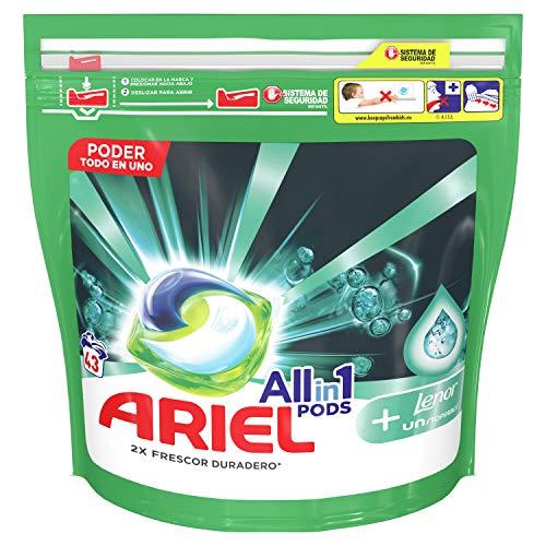 Ariel Todo En Uno Pods Con Lenor Unstoppables Detergente En Cápsulas 43Pods, 43Lavados, Perfecto Para Lavar A Baja Temperatura, Perfume Duradero