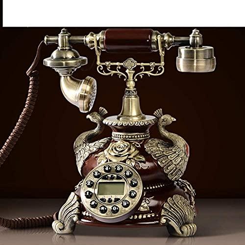 KMILE Classic European Retro Teléfono Fijo Línea Sólida Madera Sólida, Teléfono, [Creativo] [Retro], Estilo Americano, Wired-A Teléfono de Inicio