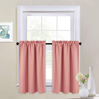 NICETOWN Small Blackout Window Curtains - Half Kitchen Window Short Rod Pocket Top Design Curtains Panels Small Window Treatment Home Decoration Valances, 29 W x 36 L inches, Coral, 2 Panels
