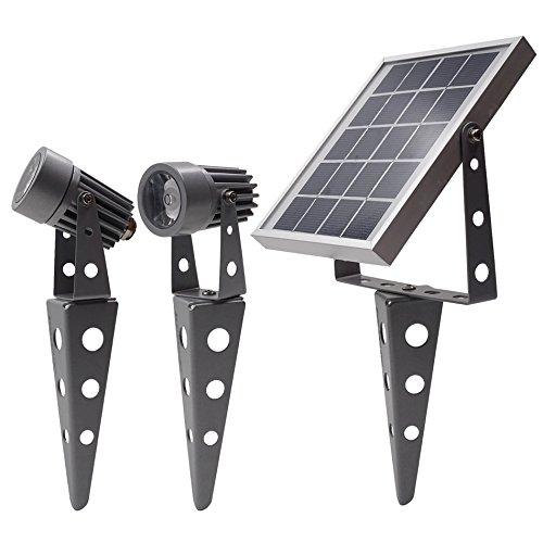 Minifoco led, doble, alimentado con energía solar, 50X, luz blanca fría, acabado de bronce