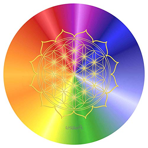atalantes spirit HerzBlume des Lebens Mauspad - Rainbow Ø 19cm, rund - regenbogen Energieuntersetzer - MousePad Lebensblume Herzchakra bunt