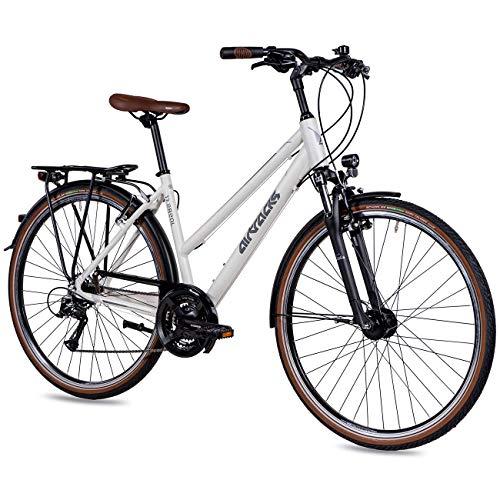Airtracks DamenTrekking Fahrrad 28 Zoll Trekkingrad TR.2820 Weiß Matt (48cm (Körpergröße 155-170cm))