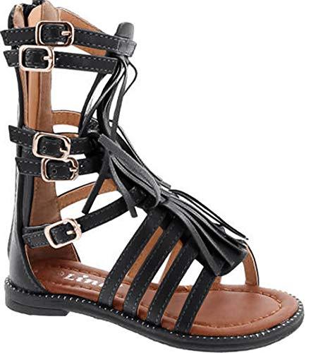Black Savannah Strappy Buckled Fringe Gladiator Flat Sandals