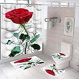 Shower Curtain 4 Piece Set Non-Slip 3D Red Rose Flower Bathroom Rug Mat Set Toilet Cover Bath Mat Non-Slip Waterproof Mould Proof Shower Curtains Bathroom Decoration 180x180 cm