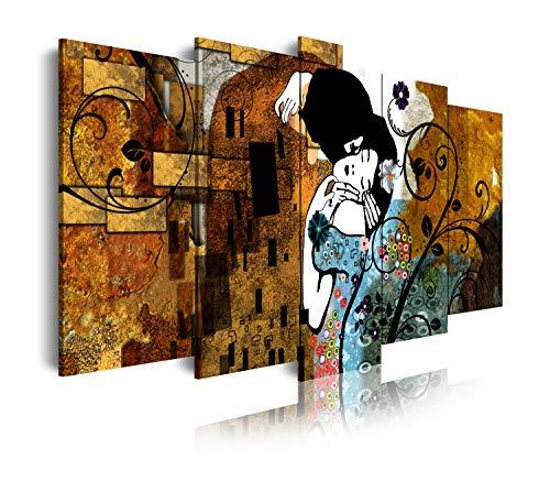 DekoArte 241 - Cuadros Modernos Impresión de Imagen Artística Digitalizada | Lienzo Decorativo para Tu Salón o Dormitorio | Estilo Abstractos Arte Gustav Klimt El Beso | 5 Piezas 150 x 80 cm