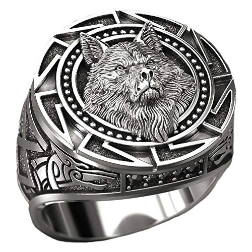 Chutoral GanGuWoDeLongShangMaoYouXianGongSi Herren-Ring, Wolf-Handmuster, Punk, Herrenring, Party, Viking, 8 Stück