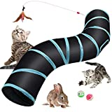 Hyselene Tunnel Chat Jouet Chat,Tunnel Pour Chat,Tunnel Lapin,Jeux Chat S-Tunnel,Tube de Tunnel Pliant,Tunnel Chien,Pet Tunnel Avec Canne a Peche Chat Convient aux Le Chats,Chiots,Cobayes,Lapins