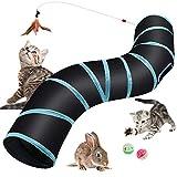 Hyselene Túnel para Gatos Juguetes para Gatos,S-Tunel Gato,Tubo para Gatos Plegable,Tunel Gato,Gato Jugar Túnel del Laberinto Con Campanas y Caña Pescar de Gatos,Para Gatos,Cachorros,Conejos,Cobayas
