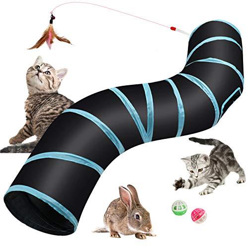 Hyselene Túnel para Gatos Juguetes para Gatos,S-Tunel Gato,Tubo para Gatos Plegable,Tunel Gato,Gato...