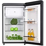 WOLKENSTEIN Retro Kühlschrank mit 4*** Gefrierfach KS95RT B schwarz 90 Liter