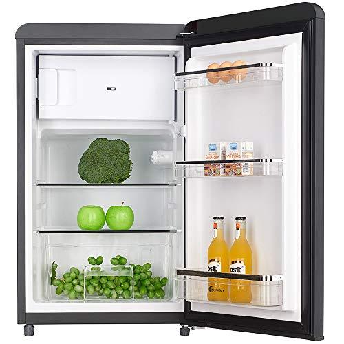 Wolkenstein KS95RT B - Frigorífico retro con compartimento para congelador (90 L), color negro