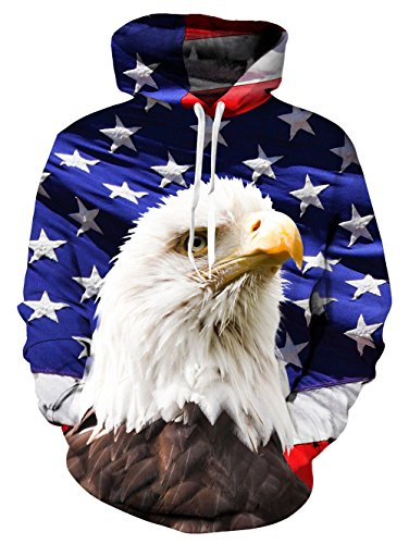 Leapparel Mens' American Eagle Hoodie Graphic Hoodies Funny 3D Printed Pullover Ugly Christmas Sweater Sweatshirts For Women, American Eagle, X-Large