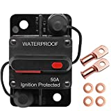 Erayco 50 Amp Circuit Breaker with Manual Reset for Car Marine Trolling Motors Boat ATV Manual Power Protect for Audio System Fuse, 12V-48VDC, Waterproof (50A)