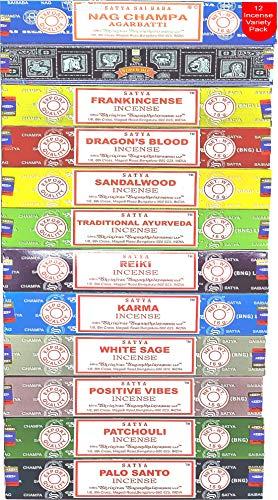 Nag Champa Incense Sticks Variety- Pack (12 Incents, 140+ Sticks)   100% Original Handrolled Masala   Satya Incense BNG   For Stress Relief, Meditation Decor, Spiritual Decor & Home Fragrance Products