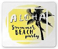 イビサマウスパッドおしゃれスリップ防止、水彩夏のビーチパーティーデザイン熱帯休暇ヤシの木、標準サイズの長方形滑り止めラバーマウスパッドおしゃれスリップ防止、淡い黄色黒と白