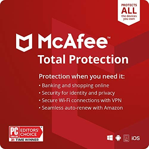 McAfee Total Protection 2021 Unlimited Devices Antivirus Internet Security Software VPN Password product image