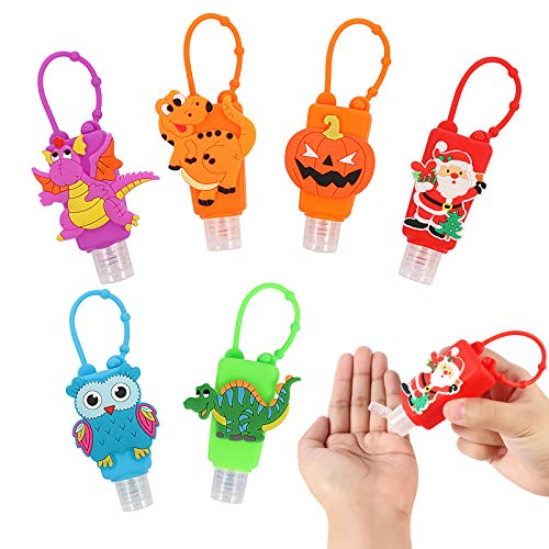 Kids Empty Hand Sanitizer Holder - Keychain Carrier Travel Bottles - Silicone Cute Cartoon Case Leak Proof Refillable Portable Containers, Best Gifts for Themed Parties Christmas, Halloween, 6PCS/30ML