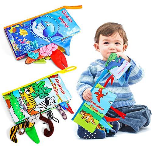 Magicfun Libros Blandos para Bebé, 3 Piezas Libros de Tela, Libro Activity bebé con Animales Colas, Juguetes Educativos Regalos para Bebé Recién Nacido Niños