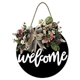 Welcome Sign for Front Door Farmhouse Porch Sign Rustic Wooden Door Decorations Wreaths Hanging with Flowers and Bow Welcome Sign for Front Door Rustic Wooden Door Wreaths for Front Door Decoration