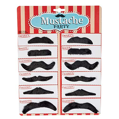 Kicko Party Black Mustache - 12 Adhesive Whiskers for Kids and Adults Costume Play Accessories - 3.5 Inch Fake Beard Set Perfect for Cinco De Mayo, Cowboy Parties and Cool