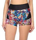 Merry Style Shorts de Bikini Bañadores Pantalones Cortos Mujer MS10-317(Negro/Patrón2,42)