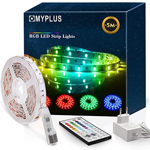 MYPLUS LED Strip 5m, RGB Led Streifen mit Fernbedienung und Netzteil, Farbwechsel LED Leiste für Zuhause, Küche, Schlafzimmer, 20 Grundfarben, 6 Dynamische Modi und DIY-Funktion