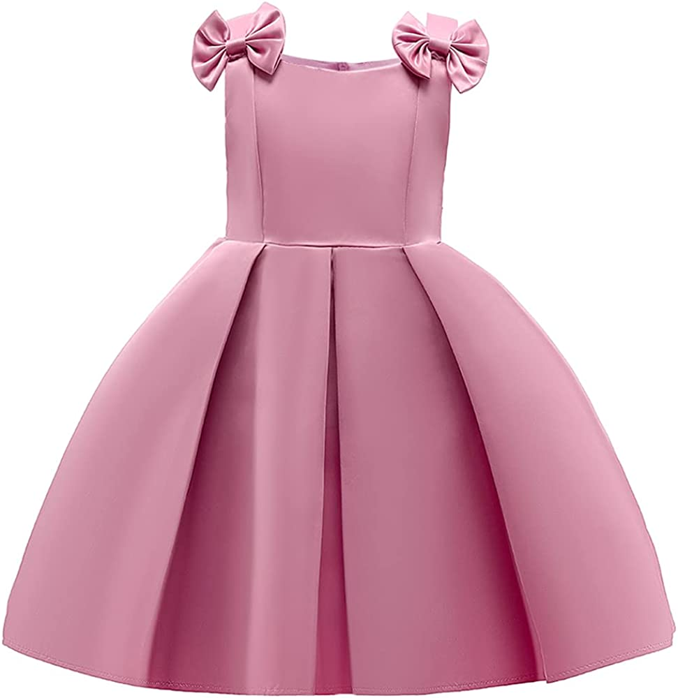 AIMJCHLD 3T-9T Bowknot Flower Girls Pageant Party Dresses Kids Formal Dress