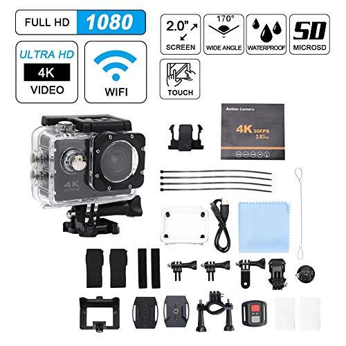 Taidda Wide Angle Camera, Ultra Light Mini Portable F60 2 Inch Screen 140° Wide Angle HD 4K 30FPS WiFi Waterproof Action Sports Camera Kit