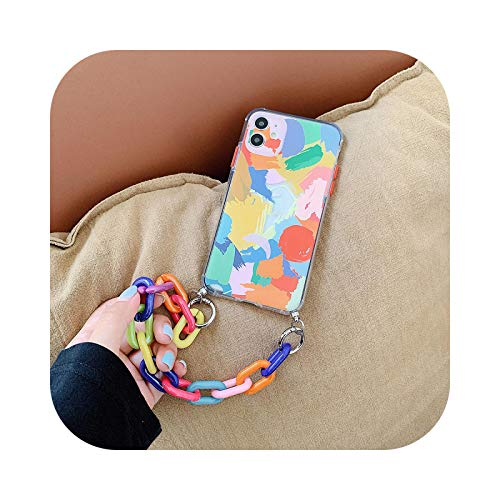 Carcasa con cadena para iPhone 11Pro Max 7 8 Plus XR XS Max carcasa antigolpes Graffiti funda colgante para iPhone SE 2020 11-a-for iPhone 11Pro Max