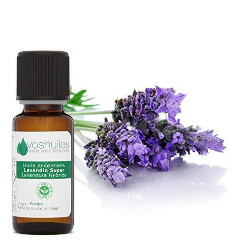 Huile Essentielle de Lavandin Super - 100% Pure et Naturelle - HEBBD - Parfum Frais pour Bien-être - Huile Relaxante Idéal pour Diffuseur - 10ml - VOSHUILES