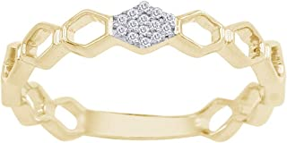 Pave Natural Diamond Accent Hexagon Deco Minimalist Band Ring in Sterling Silver for Women (0.04 Cttw, I-J Color, I2-I3 Clarity)