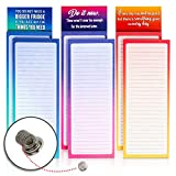 MERDREU 6 Magnetic Notepads with 3 Quote Fridge Magnets & 1 Magnetic Pen Holder | Full Magnetic Back Cute Memo Pads To Do List, Shopping List &