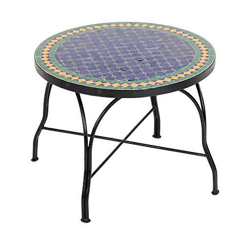 albena Marokko Galerie 15-148 Fareo Marokkanischer Mosaiktisch Couchtisch 60cm (Fareo: blau/grün/gelb)