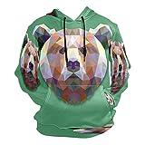 Moda impresión 3D geometría colorido patrón de oso unisex suéter fresco sudaderas con bolsillo canguro para hombres y mujeres