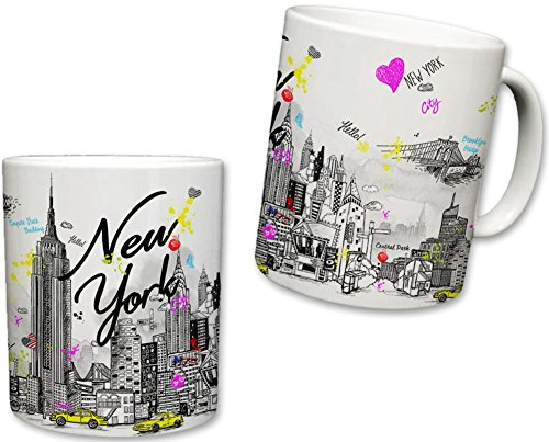 Sweet Gisele | New York City Inspired Mug | Ceramic NYC Coffee Cup | Downtown Manhattan Skyline | Empire State Building & Times Square | Brooklyn Bridge Background | Great Novelty Gift | 11 Fl. Oz
