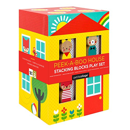 Petit Collage Nesting and Stacking Blocks Playset with 3 Wooden Characters