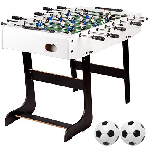 """Maxstore Tischfussball """"Belfast"""", klappbar, Farbe: weiß, nahtlos hochgezogene Spielfeldecken, inkl. 2 Bälle, Kicker Kickertisch Tischkicker"""
