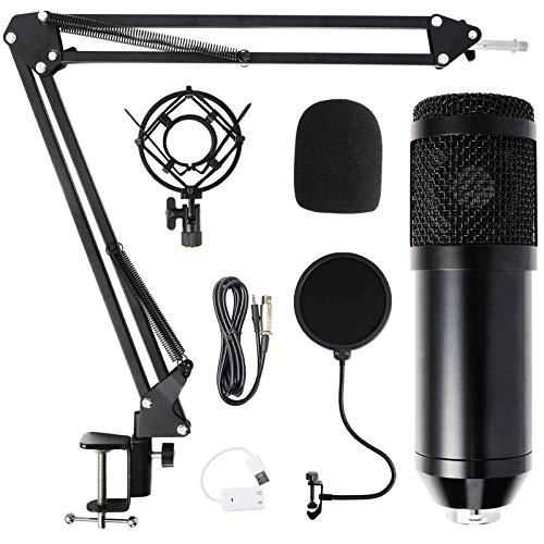 Komake Micrófono de Condensador,USB Micro Grabación Patrón Polar Cardioide con Soporte Cantilever,Apto para Podcasting,Streaming,Doblaje,Video de YouTube, Estudio de...
