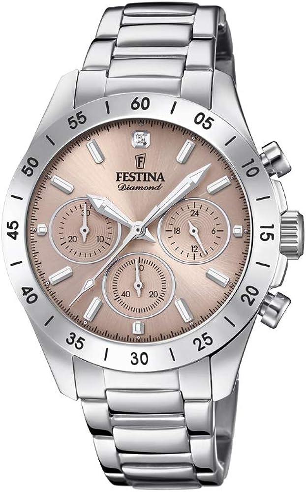 Festina orologio cronografo  da donna analogico in acciaio inox F20397/3