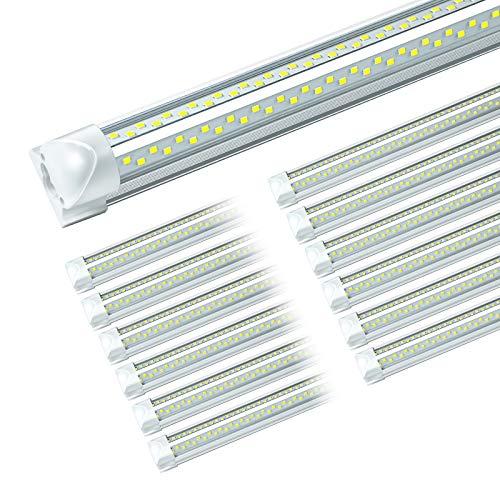 ONLYLUX 8ft LED Shop Light, 8' 95W 12350 Lumens, 8 Foot led Shop Lights Fixture for Garage Workshop, T8 LED Tube Lights, Hight Output, Linkable Shop Lights with Plug (12 Pack)