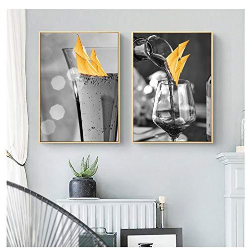 Gelbes Segelboot Bild Nordic Home Decor Leinwand Malerei Wandkunst Boot Wein Drucke und Poster Dekor Pating für Wohnzimmer-40X60Cmx2 Pcs Kein Rahmen