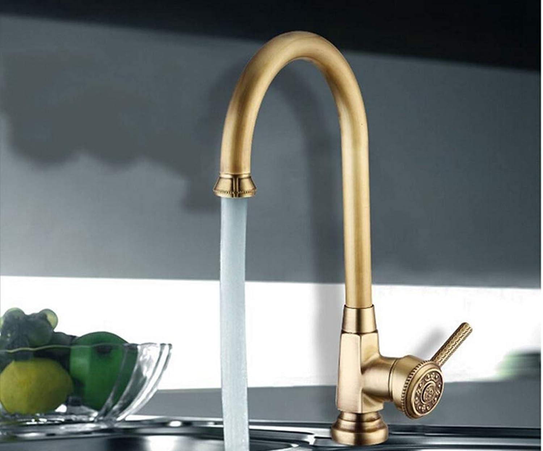 FZHLR Luxus-Elegante Antike Goldbronze-Hahn-Küche-Badezimmer-Behlter-Wannen-Mischer-Hahn-Schwenker Cozinha Torneira Sanitr Sanitr