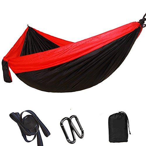 MAMMAMIA Amaca per Dormire Riposare Outdoor Campeggio Escursione Viaggio Parco Nylon 300kg 300x200cm (Rosso + Nero)