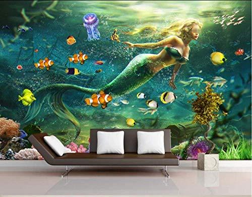 Tapete 3D Fototapete Fantasy Unterwasser Meerjungfrau Tapeten 3D Effekt Vliestapete Moderne Wanddeko