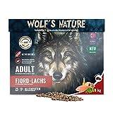 Wolf's Nature Lachs - Getreidefreies Trockenfutter aus Norwegen in Lebensmittelqualität (8 kg)