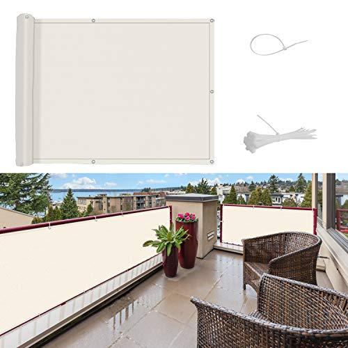 SUNNY GUARD Pantalla para Balcón Jardín Protección de Privacidad HDPE Resistente a los Rayos UV Protección contra el Viento, con Ataduras de Cables,75 * 600cm Crema
