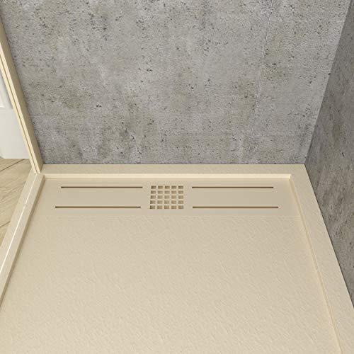VAROBATH - Plato de ducha de Resina, color Crema URBAN STONE