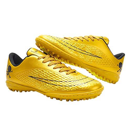 Tênis esportivo masculino iFANS para atividades ao ar livre/interior confortável de futebol masculino Chuteiras para estudantes, Gold-x, 6 Narrow