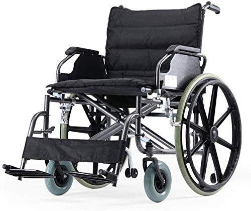 BXU-BG Silla de ruedas de aluminio autopropulsada silla de ruedas plegable tránsito con frenos de mano para personas obesas, capacidad de rodamiento de hasta 125 kg con ancho de asiento de 52